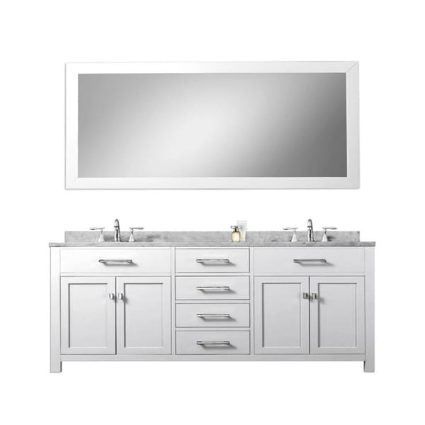 Madison Solid White Double Sink Bathroom Vanity with Large ...
