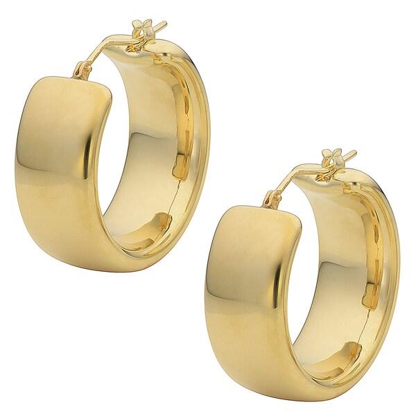 Wedding Gold Oro Round Forte Polished Band Earrings Yellow 14k Hoop