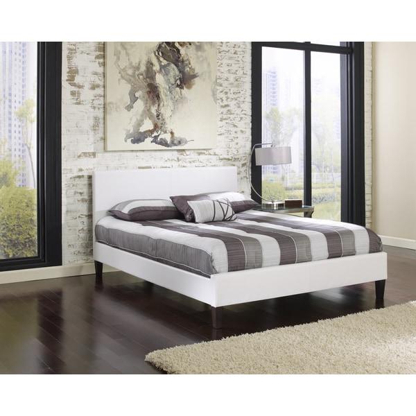 sleep sync beaumont upholstered white leather complete platform bed 15927210. Black Bedroom Furniture Sets. Home Design Ideas