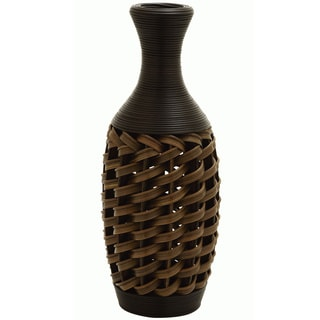 Brown Bamboo 24 Inch Floor Vase And Forsythia 12143343 Overstock Com Shopping Great Deals