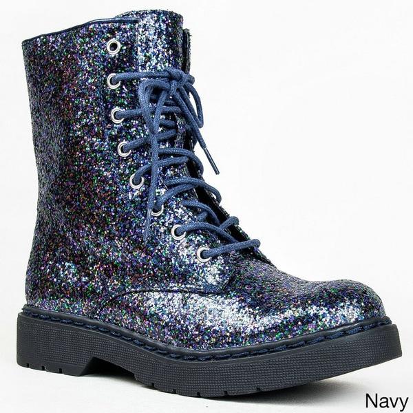 Glitter Combat Boots For Women | Ensas