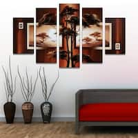 African Tree Landscape Hand-painted & Textured 5-piece Artwork - 60 x 32
