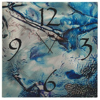 Blue Stripe Modern Metal Wall Clock 15921222 Overstock