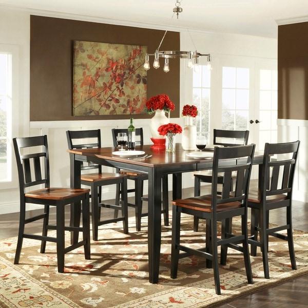 Tribecca Home Acton Warm Merlot X Back Casual Dining Side: TRIBECCA HOME Eli Rustic Black Cherry 7-piece Extending