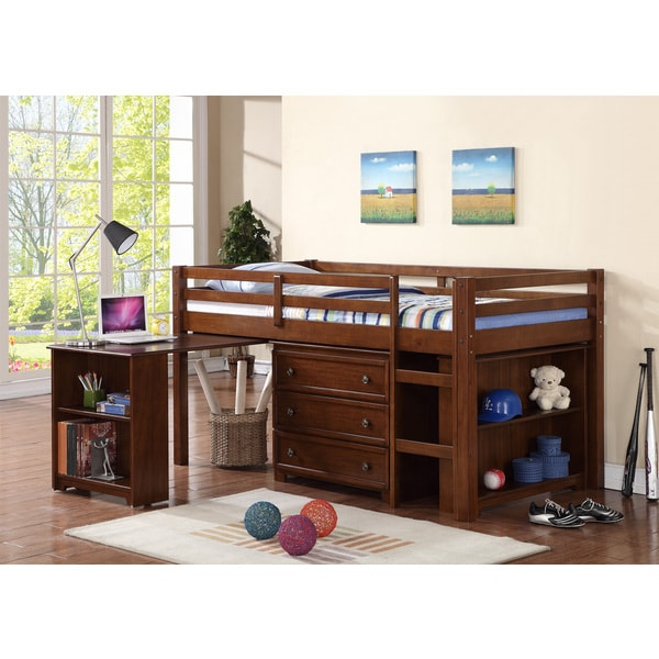 Donco Kids Kids Low Loft Twin Bed With Roll Out Desk