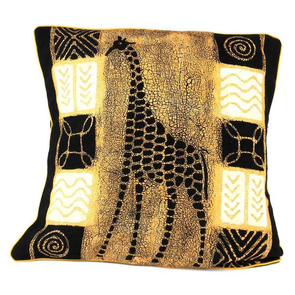 Handmade Giraffe Design Batik Cushion Cover (Zimbabwe