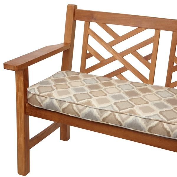Beige Grey Ogee Indoor Outdoor 60 Inch Bench Cushion With