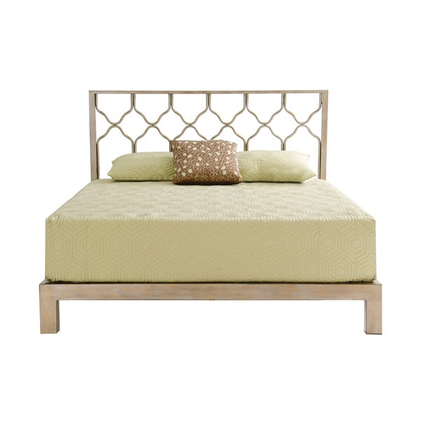 Honeycomb Gold Metal Headboard And Aura Gold Platform Bed