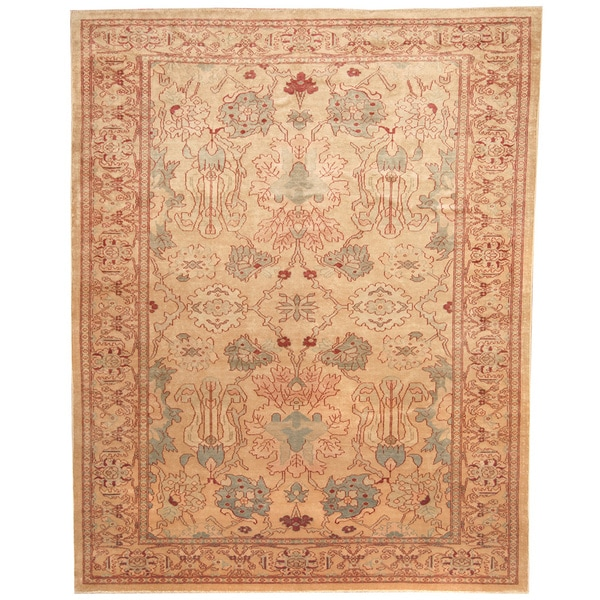 Vegetable Dyed Hand Knotted Floral Oushak Ivory Persian: Herat Oriental Afghan Hand-knotted Vegetable Dye Beige