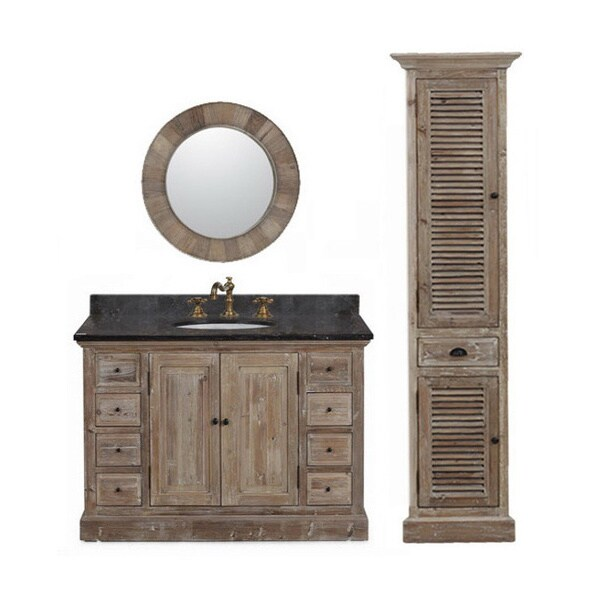 Marble Top 48 Inch Single Sink Rustic Style Bathroom