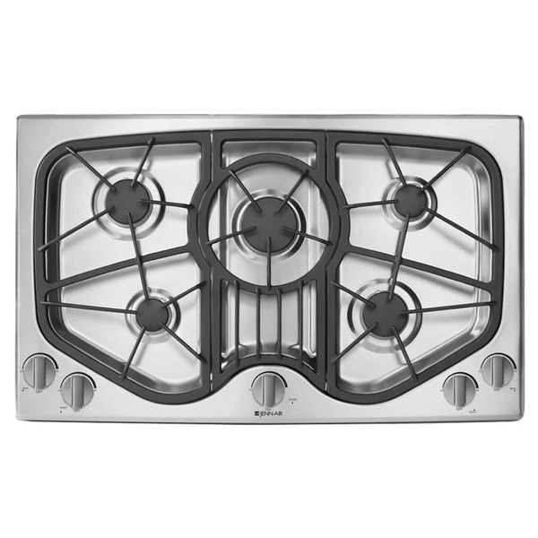 5 Burner Gas Cooktops: Jenn-Air 36-inch 5-burner Stainless Steel Gas Cooktop