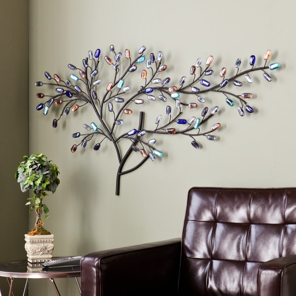 Harper Blvd Willow Multicolor Metal Glass Tree Wall