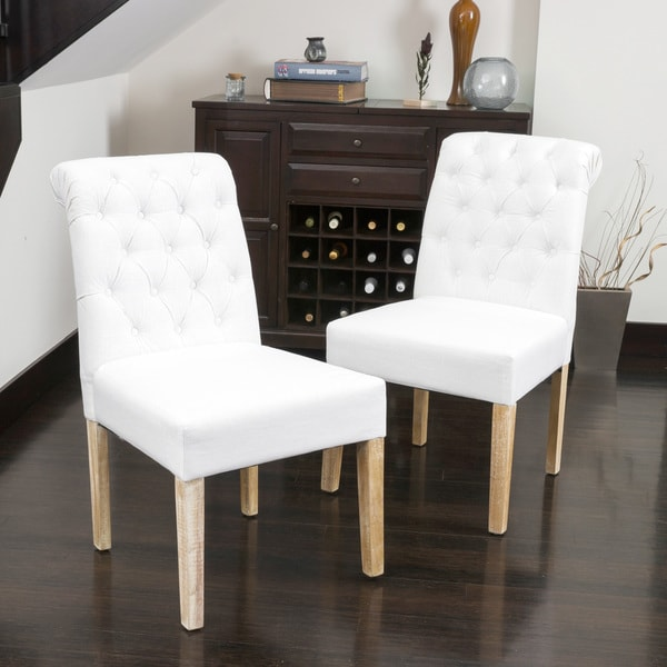 White Fabric Dining Room Chairs: Christopher Knight Home Dinah Tufted White Fabric Dining