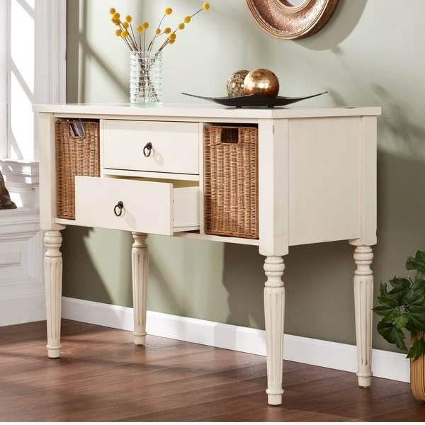 Upton Home Catalina Antique White Console With Storage Baskets