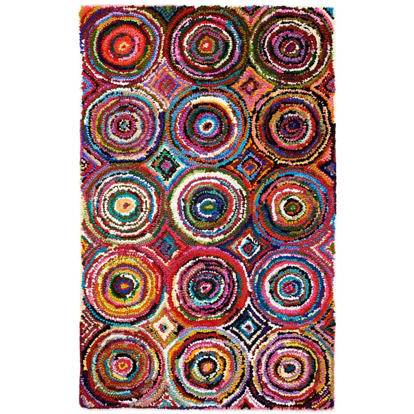 Tangi Multi Colored Circles Pattern Recycled Cotton Rug 8