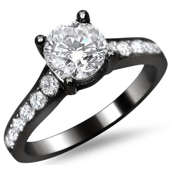 1 25ct Black Diamond Engagement Rings Set 14k White Gold: 14k Black Gold 1 1/8ct TDW Round Pave-set Diamond