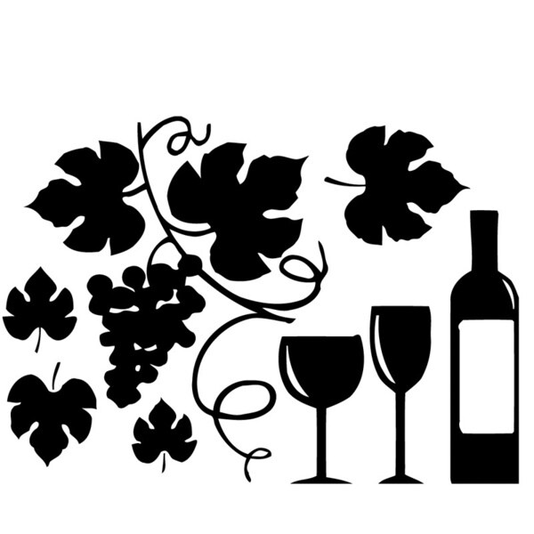 Grapes And Wine Bottle Vinyl Wall Sticker Decal 16010922