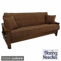 Blazing Needles Solid Chenille Double-corded Futon Cover Set with Two Throw Pillows - 54 x 74