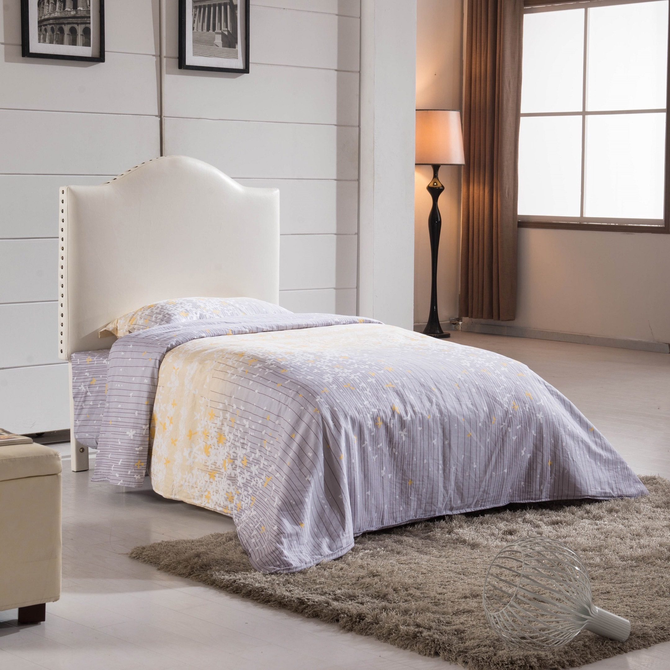 Classic Creamy White Faux Leather With Nailhead Trim Twin