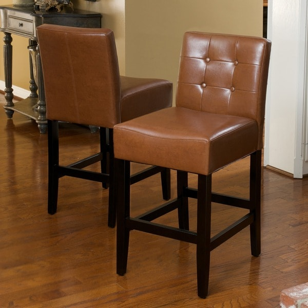 Christopher Knight Home Tate Tufted Leather Counter Stools