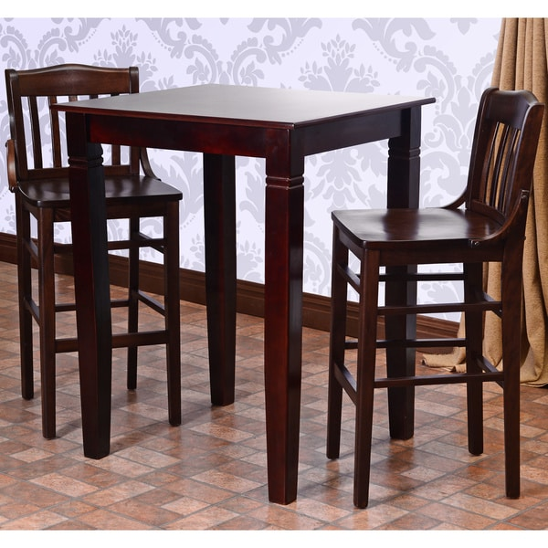 Overstock Bar Table: Library Solid Wood 3-piece Bar Table Set