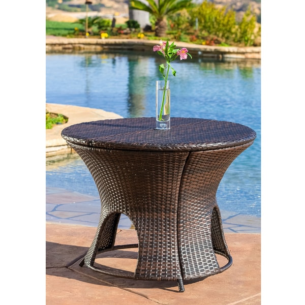 Round Wicker Coffee Table With Storage: Christopher Knight Home Rodolfo Wicker Multi-brown Outdoor
