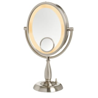 Jerdon 8 Inch Two Sided 10x Lighted Table Top Mirror In Nickel