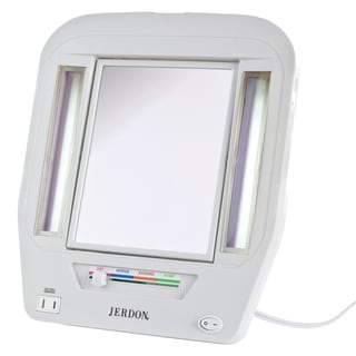 Jerdon White Euro Tabletop Two Sided Lighted Makeup Mirror