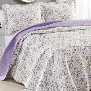Laura Ashley Spring Bloom Reversible Cotton 3 Piece Quilt Set