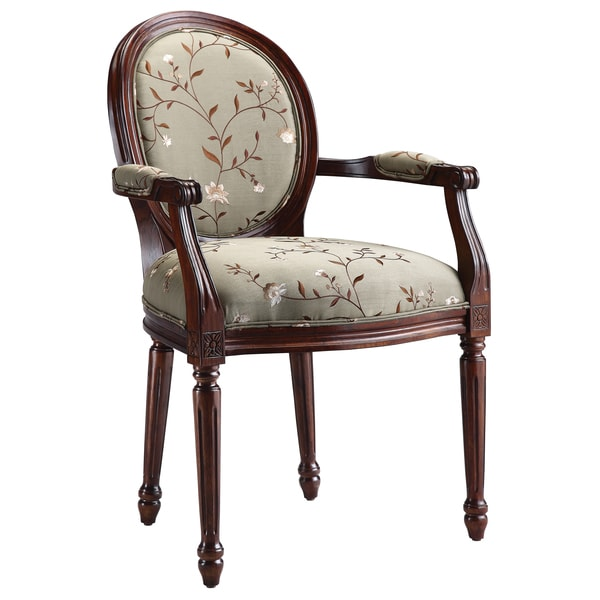 Antoinette Dark Walnut/ Light Green Upholstered Arm Chair