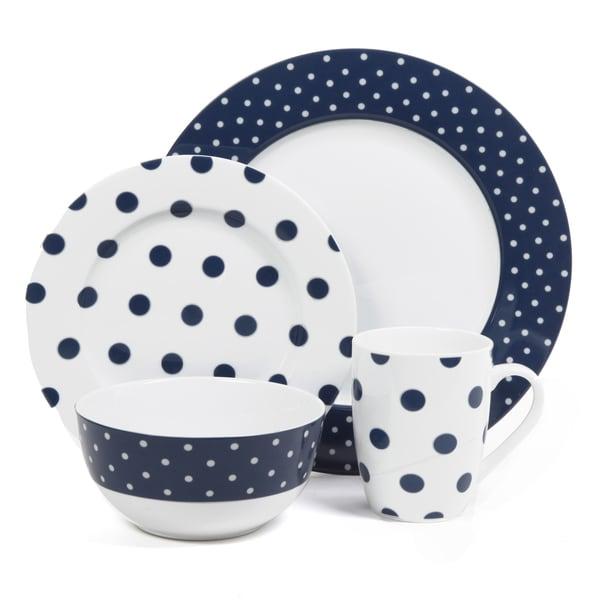 Isaac Mizrahi Dot Luxe Navy Blue 16 Piece Dinnerware Set