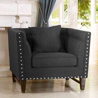 Remarkable Baxton Studio Stapleton Gray Linen Modern Accent Chair Buy Spiritservingveterans Wood Chair Design Ideas Spiritservingveteransorg