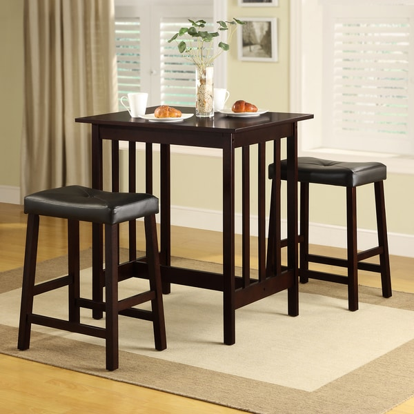 3 Piece Dining Set Bar Stools Pub Table Breakfast Chairs: TRIBECCA HOME Nova Espresso 3-piece Kitchen Counter Height