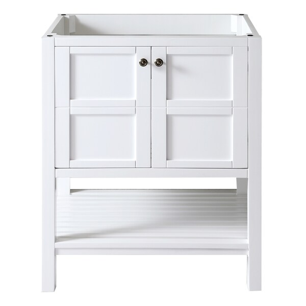 Virtu usa winterfell 30 inch white single sink cabinet - 30 inch single sink bathroom vanity ...