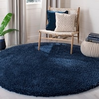Safavieh California Cozy Plush Navy Shag Rug - 6'7 Round