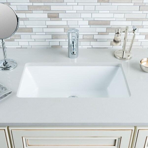 Hahn Ceramic Medium Rectangular Bowl Undermount White