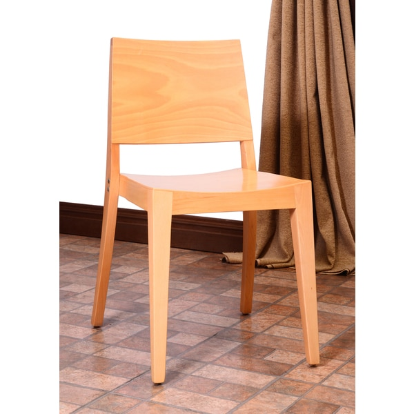 English Natural Beech Wood Dining Chairs Set Of 2
