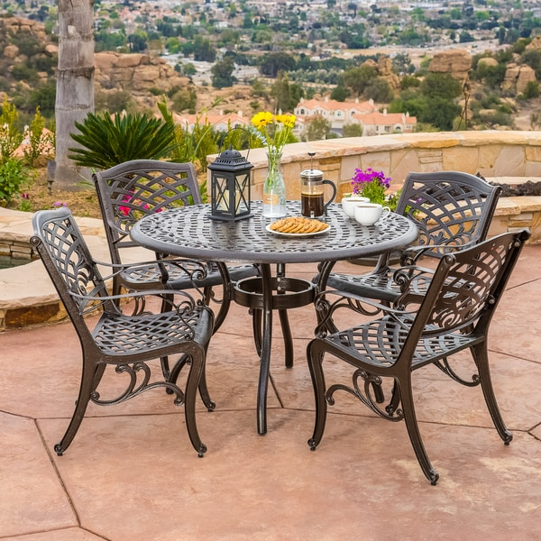 Patio Furniture In Hallandale Florida: Hallandale Sarasota 5 Pc Cast Aluminum Bronze Outdoor
