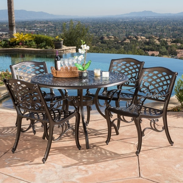 Christopher Knight Home Outdoor Hallandale 5 Piece Cast