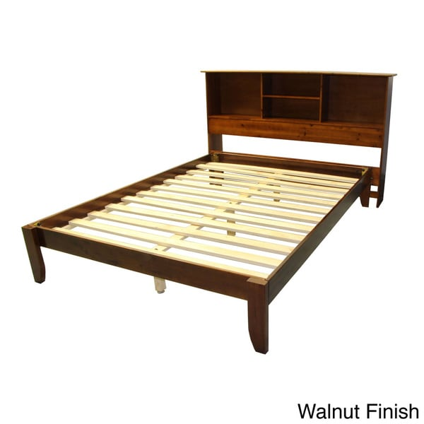 Scandinavia King Size Solid Bamboo Wood Platform Bed With Bookcase Style Headboard 16055728