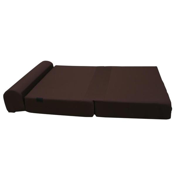 Large 6 Inch Thick Brown Tri Fold Foam Bed Couch
