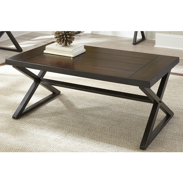 Overstock End Tables: Oldham Trestle Style Coffee Table