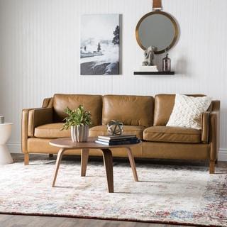 Abraham 142 Inch 3 Piece Aurora Honey Leather Sofa Set