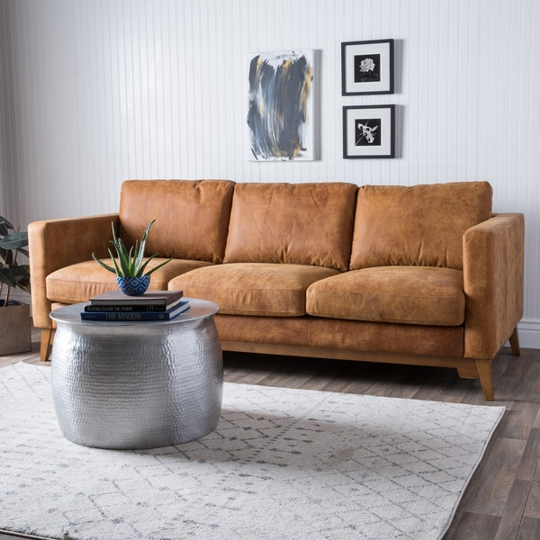 Filmore 89-inch Tan Leather Sofa - 16070449 - Overstock.com Shopping