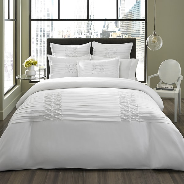City Scene Triple Diamond 3 Piece White Duvet Cover Set