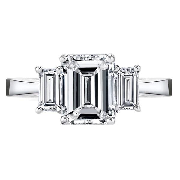 Platinum Certified 2 1/2ct TDW Emerald-cut Diamond Ring (H