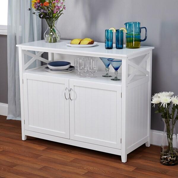 White Kitchen Buffet Cabinet: Southport Antique White Beadboard Buffet Furniture Storage