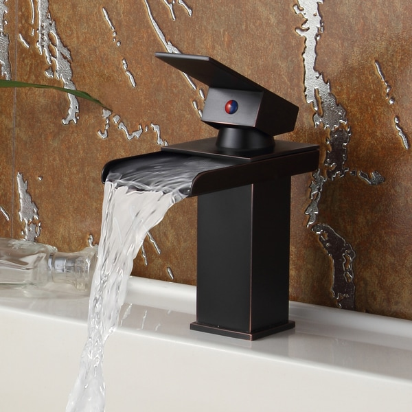 Elite Oil Rubbed Bronze Water Fall Design Single Lever Basin Sink Faucet 16076964