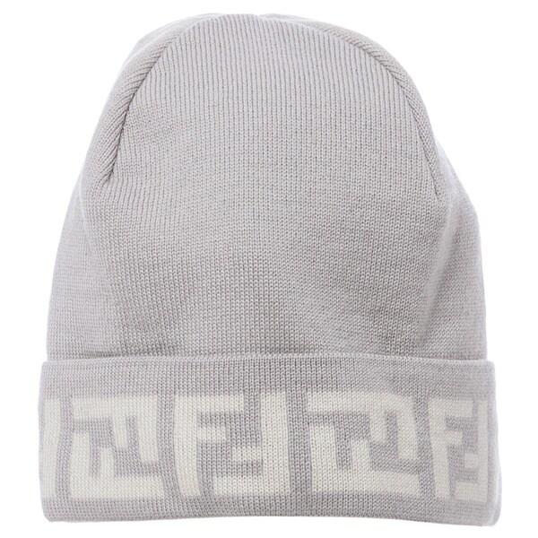 aa13d59b Fendi Light Grey/ Cream Zucca Trim Skull Cap Fendi Designer Hats on ...