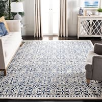 Safavieh Handmade Moroccan Cambridge Navy Blue/ Ivory Wool Rug - 7'6 x 9'6